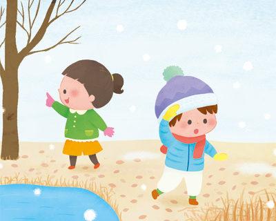 子供と冬の風景